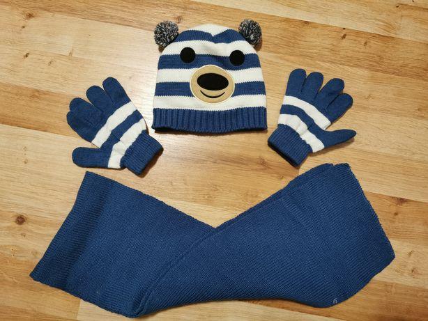 Komplet czapka szalik rękawiczki niebiesko białe roz 1-3 lata jak nowe