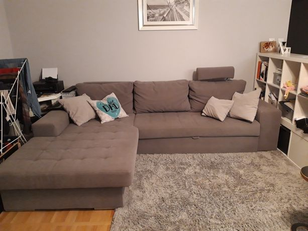 Kanapa,sofa, narożnik, szara, funkcja spania