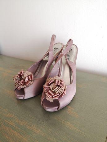 Buty na obcasie sandałki pudrowy róż 38