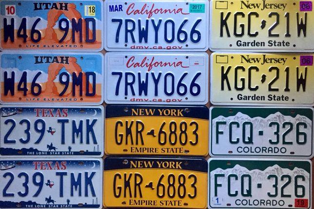 Парные американские номерные знаки США авто номера USA license plates