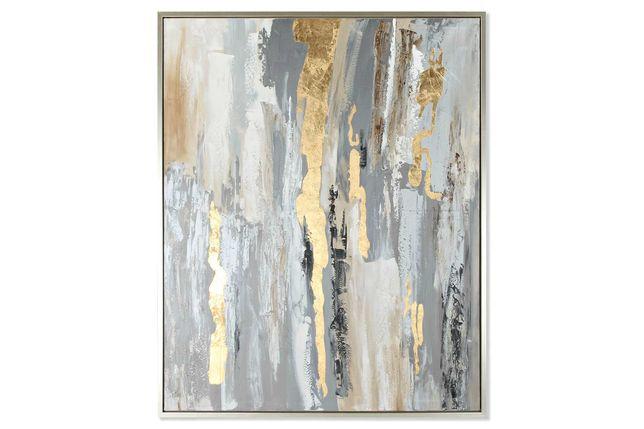 Quadro com moldura cinza e dourado 105x131cm By Arcoazul