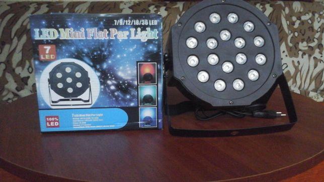 Продаётся! Диско прожектор, светомузыка PAR MINI 18 LED DMX. Звоните!