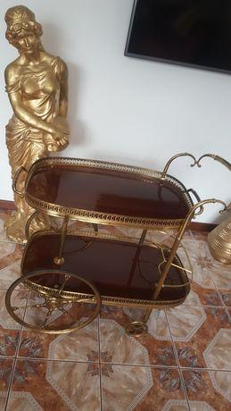 Wózek barowy na kółkach , stary mosiądz antyk