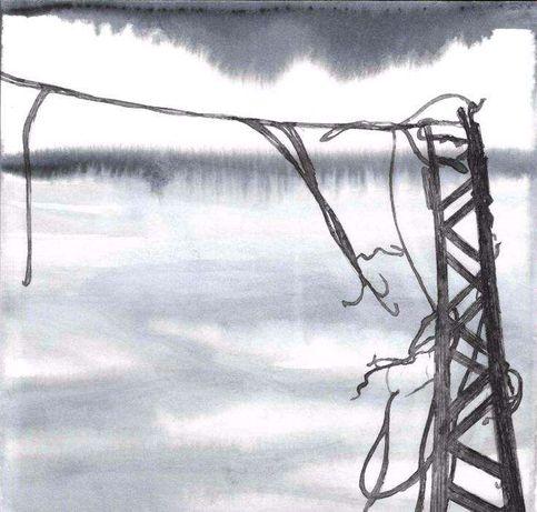 Desenho ilustração pintura paisagem aguarela tinta-da-china 12 x 12cm