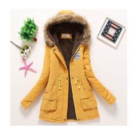 Damska kurtka zimowa żółta