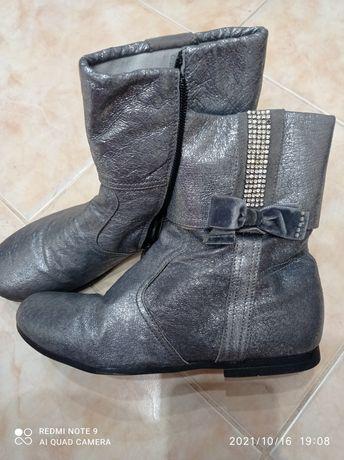 Сапожки осінні срібні на худу ногу