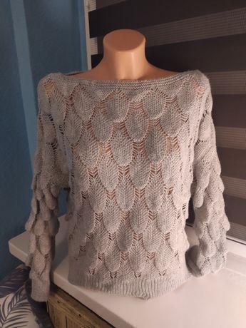 Sweterek ażurowy z Włoch szary S M