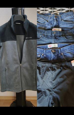 Paka, zestaw  ubrań. Polar Columbia, 3 pary spodni Levi's