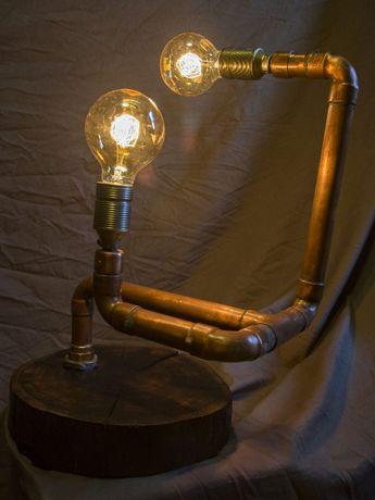 lampa vintage loft industrial miedź dąb