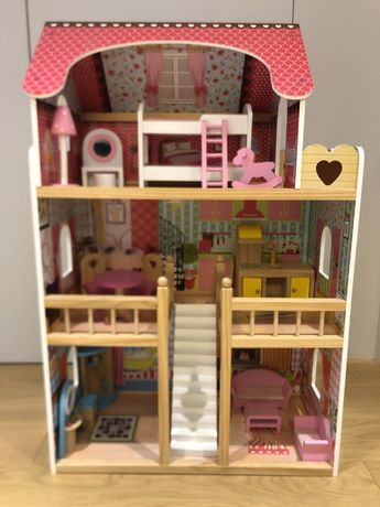 Duży drewniany domek dla lalek - Malinowy Domek