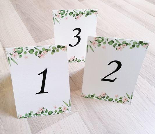 Numerki na stół weselny kwiatki RUSTYKALNA ZIELEŃ