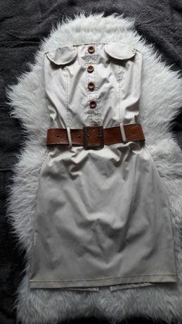 Beżowa sukienka z paskiem-nowa L