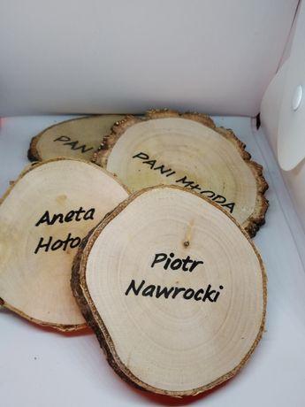 winietka weselna plaster drewna rustykalna podziękowanie dla gości