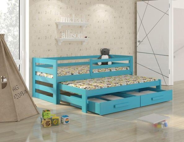 Dwuosobowe łóżeczko dziecięce Kubi Premium + barierka i szuflady