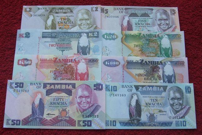 ZAMBIA Kolekcjonerskie Banknoty Zestaw - 8 sztuk UNC