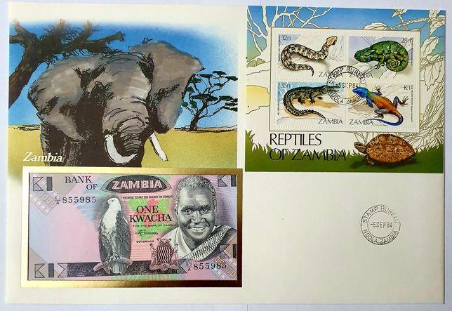 Banknot ZAMBIA i list numizmatyczny