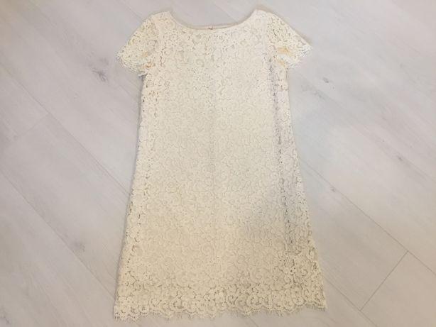 Фирменное ажурное бежевое платье Zara Зара, размер XS-S-М, 40-42