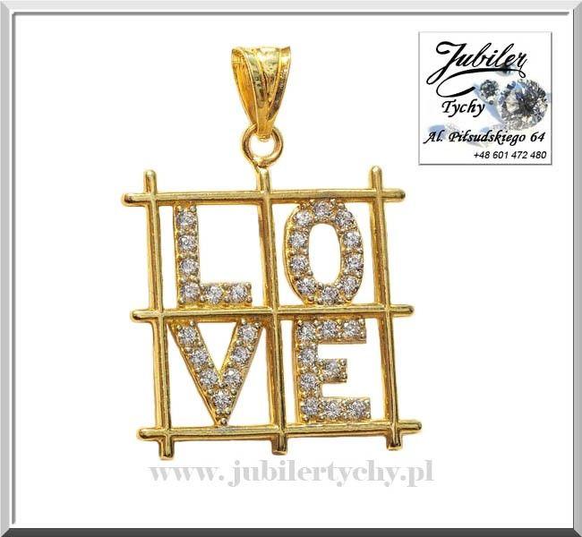 Złota zawieszka LOVE z cyrkoniami Miłość ukochany złoty wisiorek 585