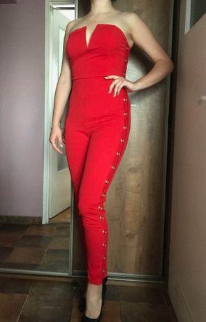 Śliczny czerwony kombinezon sexy seksowny impreza must have SHOWNY