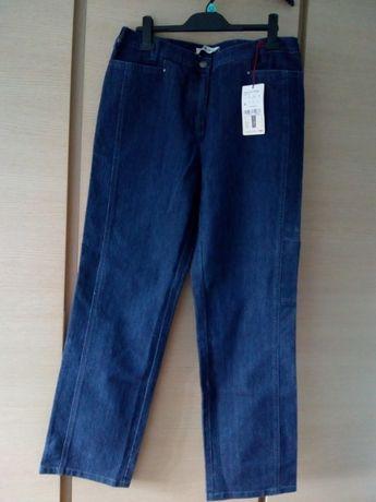 Spodnie jeansy dżinsy wstawki z gumki r.44