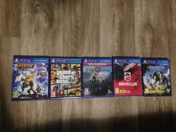 5 Игр на PS4(Horizen, GTA 5, God of War 4, Drive Club, Ratchet Clank)
