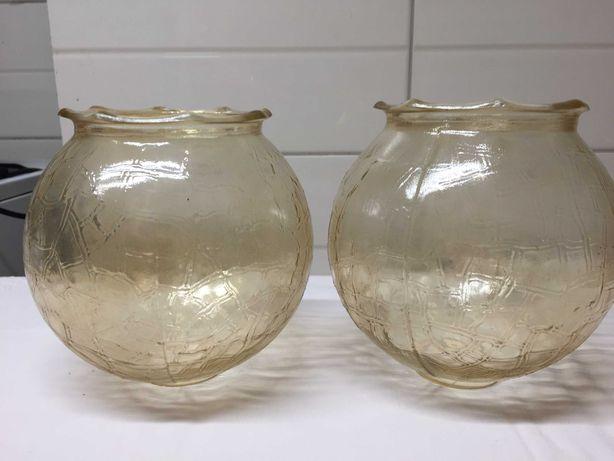 2 szklane klosze, PRL