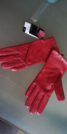 PUCCINI Ekskluzywne damskie rękawiczki skórzane rozmiar 7.5