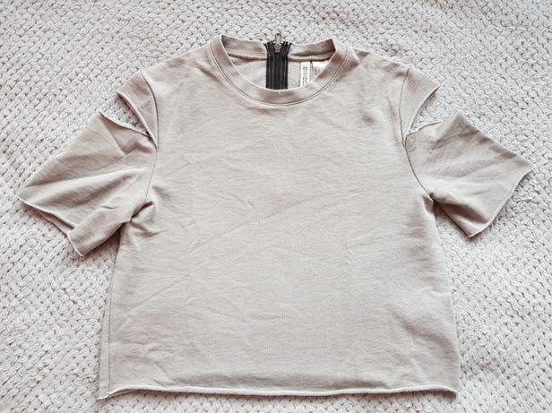Szara bluzka z wycięciami na ramionach H&M