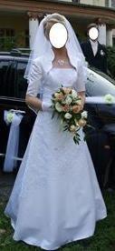Suknia ślubna, rozmiar S (36) + welon i rękawiczki
