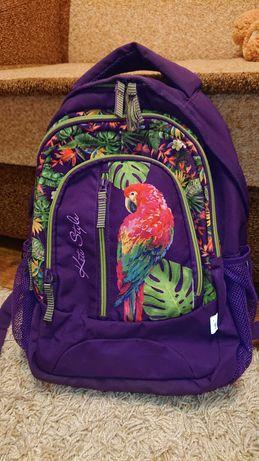 Красивый , стильный школьный рюкзак kite с попугаем