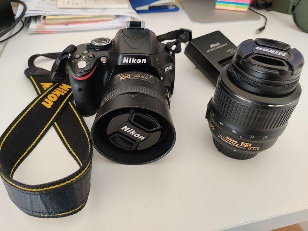 Nikon D5100 + lentes 35mm f1.8 e 18-55mm f3.5-5.6 + extras