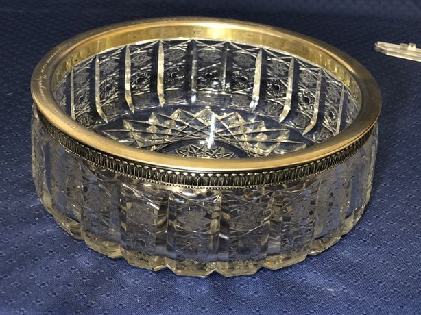 Великолепная хрустальная ваза, ободок серебро 176гр