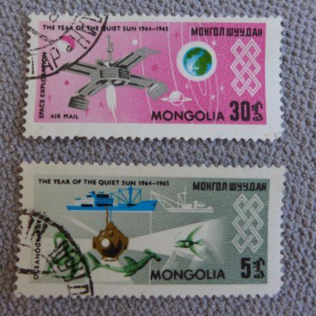 FILATELISTYKA stare znaczki pocztowe PRL 2 sztuki grafika MONGOLIA