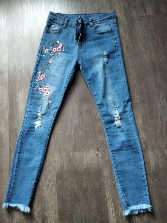 Spodnie rurki hafty xs