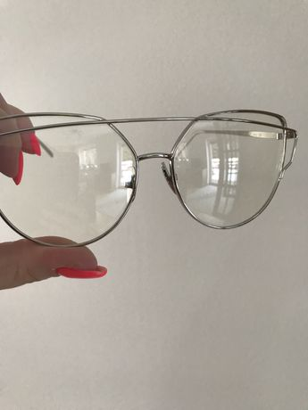 Okulary zerówki srebrne kocie