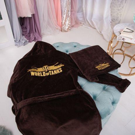 Махровый халат с именной вышивкой 100% хлопок ПРЕМИУМ махра