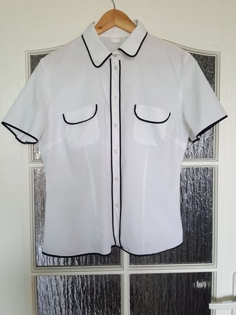 KOSZULA biała z czarną lamówką, bluzka krótkie rękawy, czarne obszycia