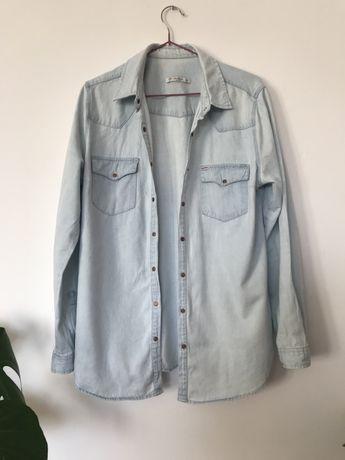 Koszula jeansowa L pull and bear niebieska, błękitna dżins dżinsowa