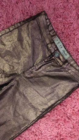 Nowe metaliczne spodnie z wysokim stanem denimco! Przepiękne hit mody!