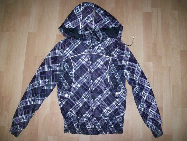 Przejściowa Wiosenna Jesienna kurtka w kratkę z kapturem rozmiar L
