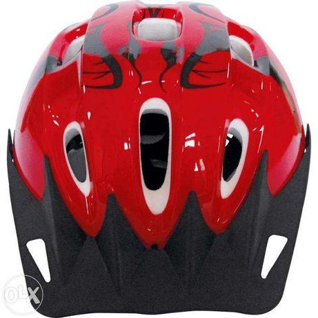 Śliczny Kask Na Rower Regulowany Czerwono-Czarny 54-56cm