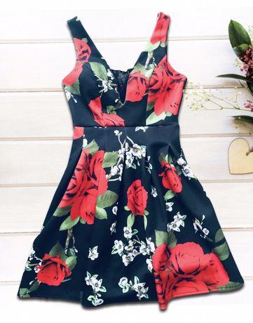 Платье с красными цветами 44 размер