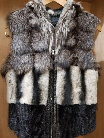 Новая меховая жилетка, кожаный жилет, натуральный мех (чернобурка) р М