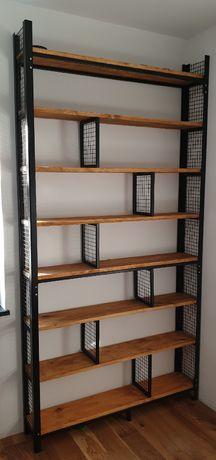 regał industrialny na książki, styl loft metal lite drewno