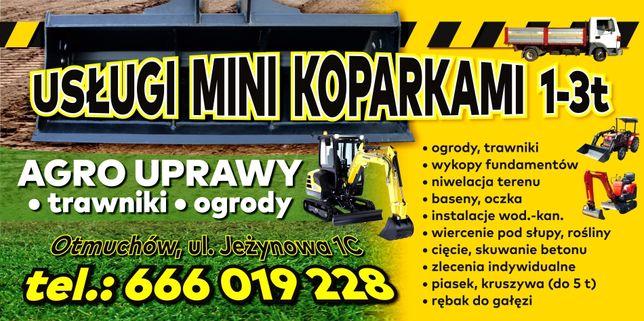 Usługi mini koparkami 1-3 t + agro uprawy+ kruszywa do 5 t