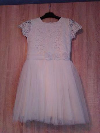 Sukienka dziewczęca w kolorze ecru