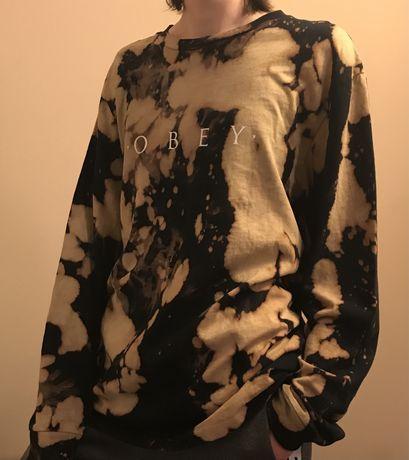 OBEY bluza bluzka M acid washed unisex logo