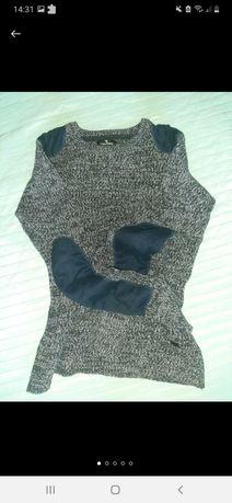 Мужской тёплый свитер с латками светер для подростка лонгслив кофта пу