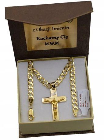 Złoty Łańcuszek z KRZYŻYKIEM PEŁNY pr. 585 /GRAWER