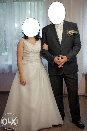 Suknia ślubna biała 38/40 wg własnego projektu wiązanie gorsetowe